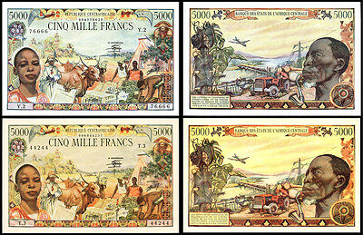 !copy! 2 Central African Republic 5000 Francs 1980 Banknotes !not Real!