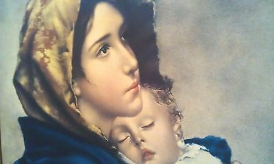 Madonnina by Ferruzzi - Vintage Painting in Ornate Gilded Baroque Frame