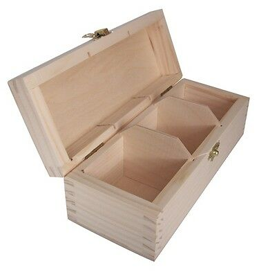 Unpainted Wooden Tea Bags Box 3 Compartment Hand Craft/ Pyrography/ Decorate