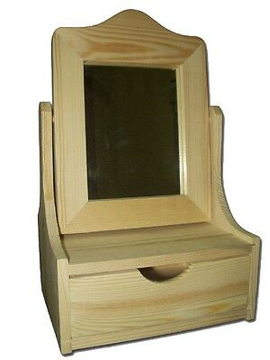 New Unpainted  Wooden Cosmetic Organizer Vanity Make Up Case with drawer