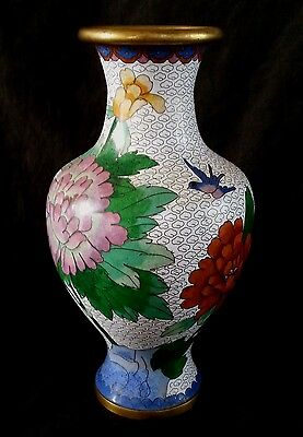 "Vintage Chinese white cloisonne vase 9.5"" tall"