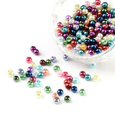 400pcs Mixed Glass Pearl Round Beads Strands Dyed 4mm in diameter hole 0.5mm
