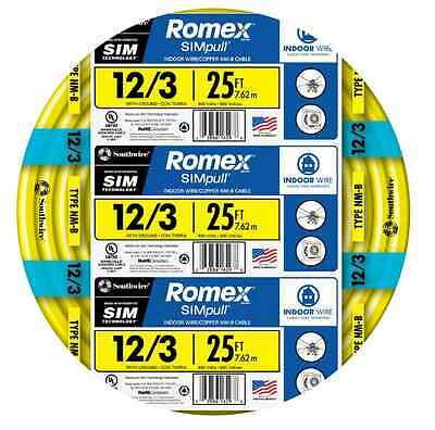 Romex SIMpull 25-ft 12-3 NM-B Gauge Indoor Electrical Non-Metallic Wire Cable