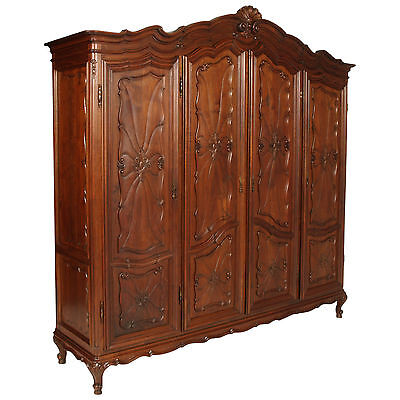 ANTIQUE WARDROBE ART NOUVEAU EARLY 900 GRANDE ARMADIO PIEMONTESE NOCE  MA N83c