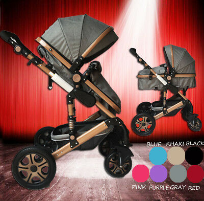 Gray 2 in 1 Aluminium Baby Toddler Pram Stroller Jogger with Bassinet 4 Wheel