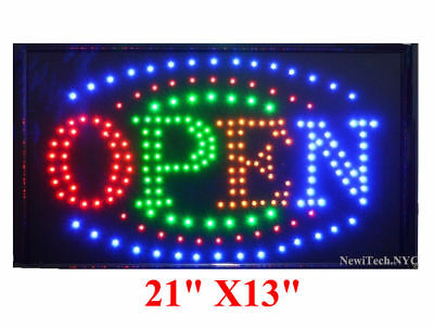"""Large VERTICAL Animated LED OPEN Sign Store w. Motion ON/OFF Switch 21"""" X 13"""""""