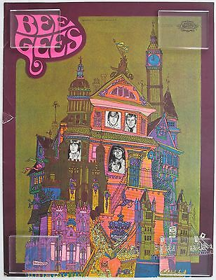 Bee Gees Original Poster, 1968 Barry Robin Maurice Gibbs Good Condition
