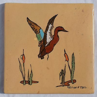"""San Jose Mission Pottery Tile Cinnamon Teal Colorful Duck & Cattails 8"""" x 8"""" NR!"""