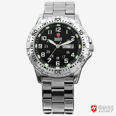 SHARK ARMY Military Stainless Steel Day Date Black Dial Men's Sport Quartz Watch