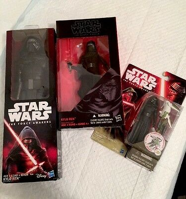 Kylo Ren Star Wars Figure Lot Of 3, Black Series The Force Awakens, New In Box