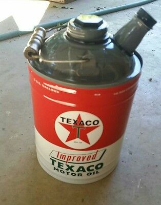 Vintage style Texaco Motor oil metal can decor home mancave chevron gas oil