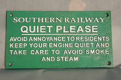 SOUTHERN RAILWAY Sign QUIET PLEASE.  Cast Iron Green Train Sign