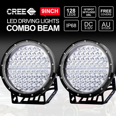 """Pair 9"""" inch 675W CREE LED Work Driving Lights 12V24V Spotlights Replace HID"""