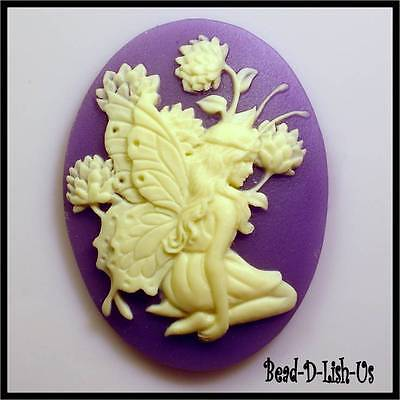 1 x Fairy Siting & Flower - 40x30mm Resin Cameo victorian gothic cabochon DIY