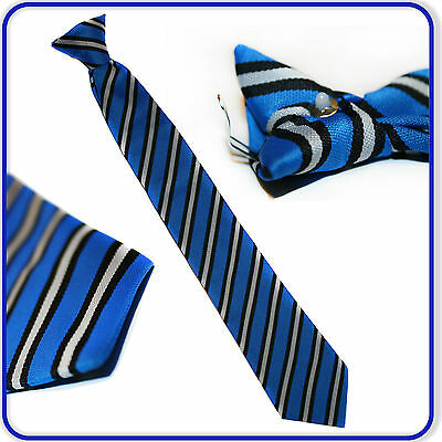 "Brand New Good Quality Boys Girls Senior Special Striped 17"" Clip on Tie"