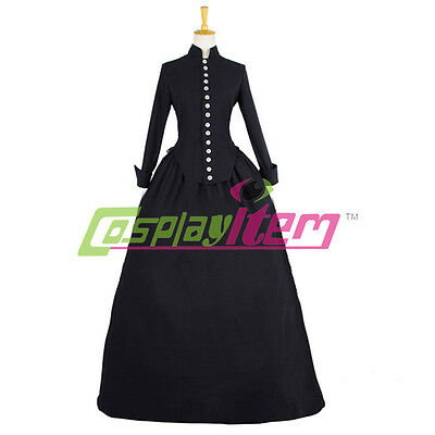 Black Medieval Renaissance Victorian Ball Gown Marie Antoinette Dress Costume