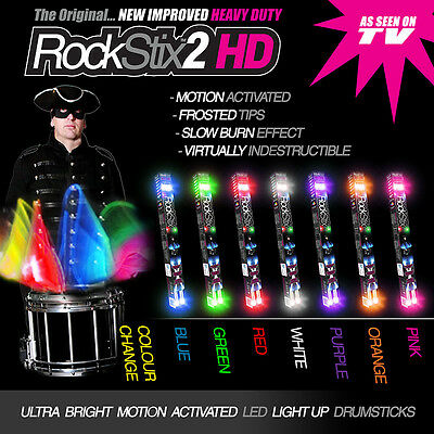 2 PAIRS of ROCKSTIX - LED LIGHT UP DRUMSTICKS - Mix Colours - (firestix)
