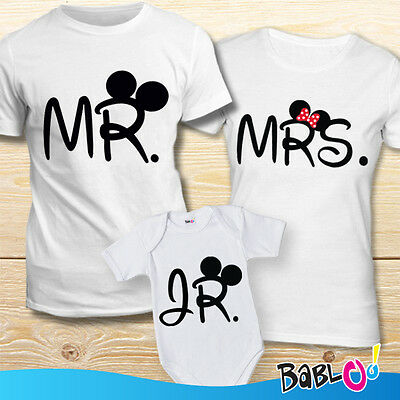 Tris tshirt Maglie Bodino Mr Mrs Jr Mouse Maschietto""
