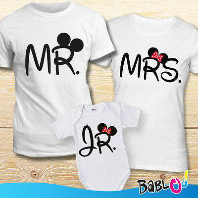 "Coppia Di Maglie e Bodino ""Mr Mrs And Jr Mouse Femminuccia"""