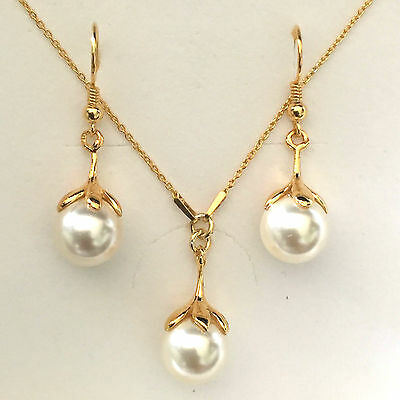 24K Gold Plated Sterling Silver Swarovski Crystal Pearl Bridal Jewellery Set