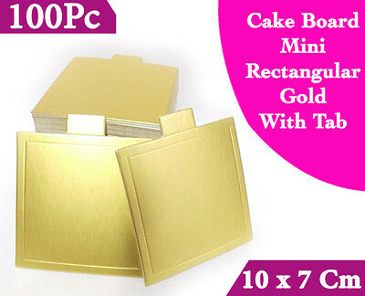 Cake Board Mini Rectangle Gold With Tab 100Pc 10 x 7 Cm Cupcake Boxes Cake Boxes