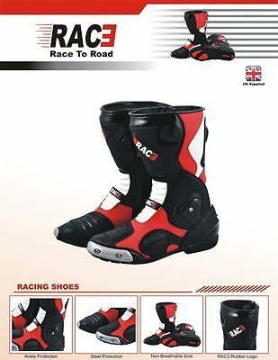 Rac3 Scooter Motorcycle Motorbike Real Leather Sports Race Armour Boots
