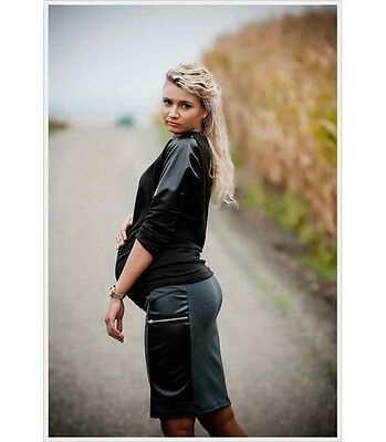 Pregnancy Maternity Jersey Skirt With Pu Leather Belly Band 8-16 Back Grey