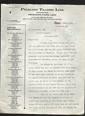 1913 letter from Peerless Transit Line, Cleveland, Ohio * railroad W. E. MacEwen