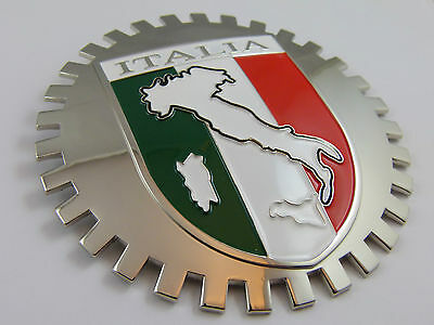 Grille Badge Italia for car truck grill mount Italy flag emblem chrome