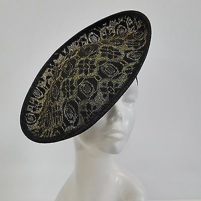 Swan Hat-Women's Kentucky Derby, Dressy, Lace Sinamay Fascinator Black/Gold