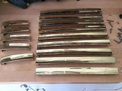 14 Vtg Mid Century Gold Tone 12' and 5'  Pulls Cabinet Hardware Art Deco