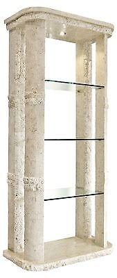 Mactan Stone Rockedge Etagere Display Case with Glass Shelves and Light
