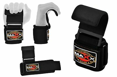 Maxx Weight Lifting Training Bar Hooks Pull Ups Padded Wrist Support Straps GYM