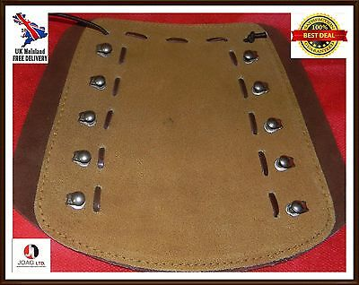 Archery arm guard leather lacing fittings brown & mustard Coppers Hook,