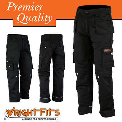 Men Work Cargo Trouser Black Pro-11 Heavy Duty Multi Pockets