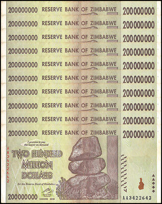 Zimbabwe 200 Million Dollars X 10 Pieces(PCS),2008,P-81,Circulated,Used,Trillion