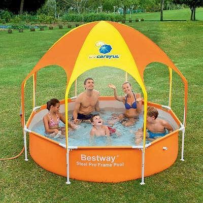 Family Swimming Paddling Pool With Shade & Sprinkler Outdoor Water Pool Frame