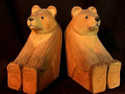 Bear Bookends * Hand Carved Wood * Glass Eyes * Vintage!!
