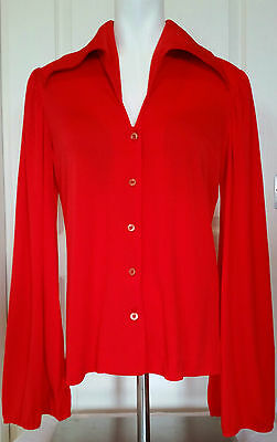 Vtg Mid 1960s Red Long Bell Sleeve Blouse Long Pointed Collar Miss Sun Valley ML