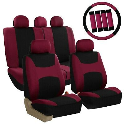 Car Seat Covers For Auto SUV Van w/Steering Wheel Cover/Belt Pads Burgundy