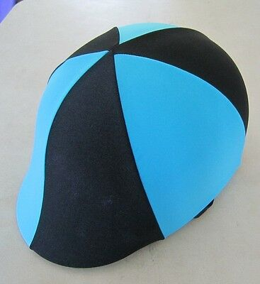 Horse Helmet Cover ALL AUSTRALIAN MADE Sky blue & Black Any size you need