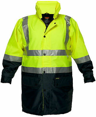 Safety Hi Vis 3M Taped Wet Weather Jacket Yellow/Navy