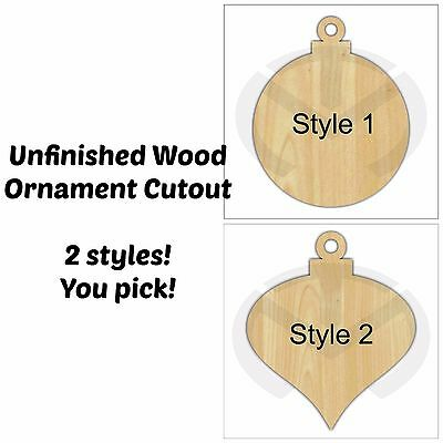 Unfinished Wood Christmas Ornament Laser Cutout, Wreath Accent, Door Hanger