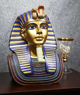 """Ancient Egyptian Decor Gold Mask Of King Tut Large 12""""H Figurine Resin Sculpture"""