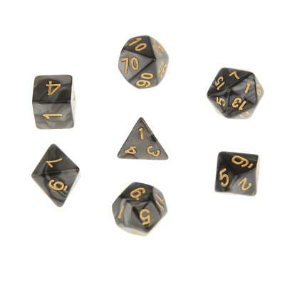 Set/7pcs Black Acrylic Multi Sided Dice TRPG Games Dungeons & Dragon D4-D20