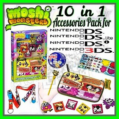 TWO MOSHI MONSTERS Accessories Packs 10 in 1 for NINTENDO DS™ DS Lite™ DSi™ 3DS™