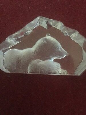Mats Jonasson Small Swedish Glass Paperweight Depicting A Resting Bear
