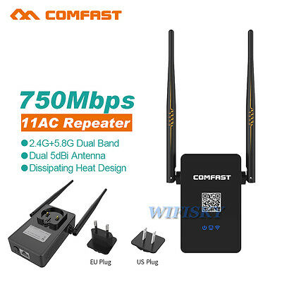 750Mbps WiFi Wireless Repeater Router Dual Band 802.11AC AP Extender Antennas