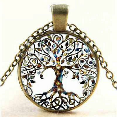 Tree of Life Glass Dome Cabochon Pendant Necklace