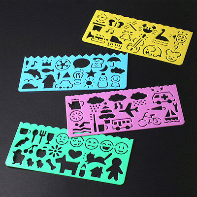 4pc Cute Korea Stationery Cartoon Ruler Oppssed Chiban Drawing Template Mould